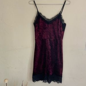 Forever 21 suede matron and black lace slip dress